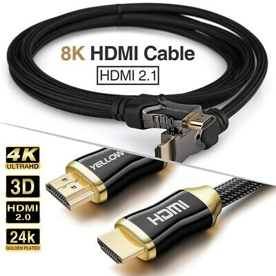 6FT HDMI 2.1 Cable 8K 120Hz 4K 3D Ultra HD 48Gbps HiFi eARC Dolby Atmos HDCP