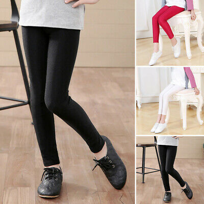 Girls Youth Children Stretch Gloss Pants Slim Bottoming Pencil Trousers Tights