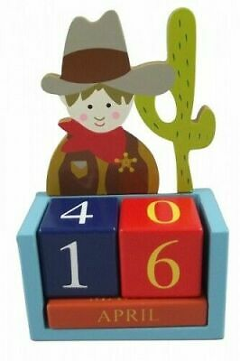 Brand New Gisela Graham Cowboy and Indian Wooden Perpetual Calendar