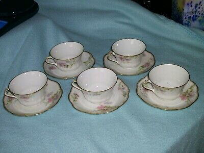 5 Antique A. Lanternier Limoges France Gold Trimmed small Cups and Saucers