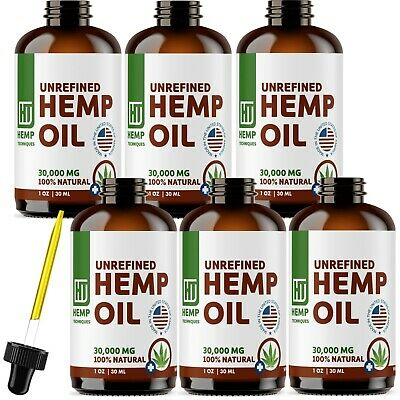 6 Pack Hemp Oil Extract For Pain Relief, Anxiety, Sleep 30000 mg