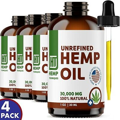4 Pack Hemp Oil Extract For Pain Relief Anxiety, Sleep 30000 mg