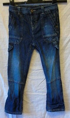 Boys Little Gent Dark Blue Denim Elasticated Waist Cargo Jeans Age 2-3 Years