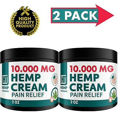 2 Pack Hemp Oil Infused Cream 10000 MG Pain Relief Skin Irritation Insect Bites