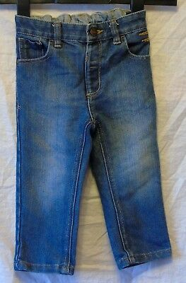 Boys George Mid Blue Denim Adjustable Waist Classic Fit Jeans Age 2-3 Years