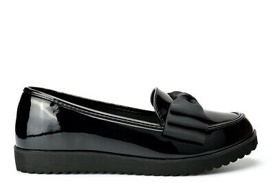 Girls School Shoes Womens Work Shoes Ladies Flats Loafers Slip On Shoes Bow Size