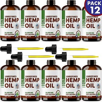 12 Pack Hemp Oil Extract For Pain Relief, Anxiety, Sleep 30000 mg