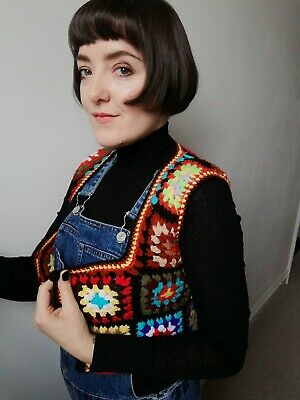 Vintage 70s Multicoloured Patchwork Waistcoat, Size small