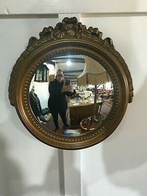 Wall Mounted Resin Convex Mirror With Ribbon Top
