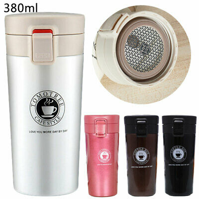 Insulated Travel Coffee Mug Cup Thermal Stainless Steel Flask Vacuum Cup 380ml
