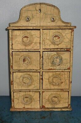 Grungy Old Painted Spice Cabinet/Box/Cupboard/Apothecary/Chest-AAFA-8 Drawers