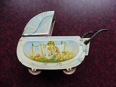 Alter Puppenwagen aus Blech, litho. Made in Western Germany, Nr. 344