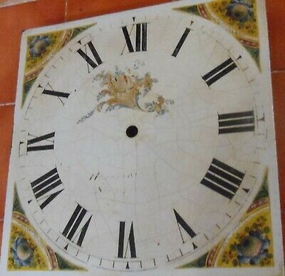 "Antique  Longcase / Grandfather  Clock  Painted  12""  Square Dial"