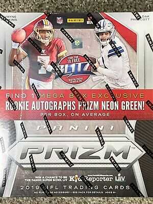 2019 Panini Prizm Football Mega Box 1 auto per box 2 Neon Green cards