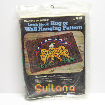 Vintage Sultana Latch Hook Rug Kit Colonial Bald Eagle Wall Hanging Pattern