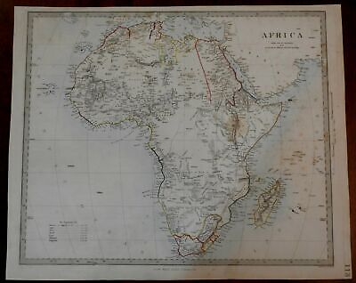 African Continent 1860 Stanford SDUK transitional engraved map