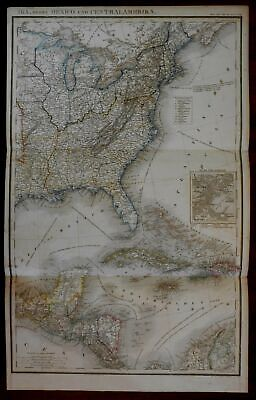 Eastern United States Caribbean Central America 1854 German large detailed map