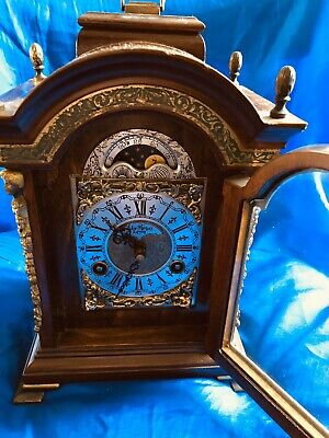 Warmink Mantel Antique Clock John Thomas Moonphase Bell Strike 8 Day Key Wind