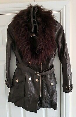 River Island brown faux leather belted jacket coat, faux fur trim, Size 8 New