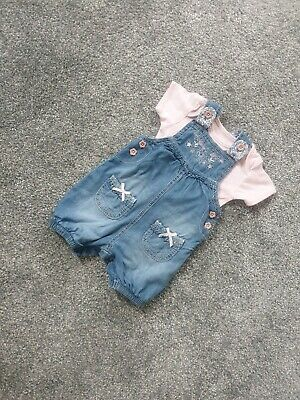 Stunning Baby Girl Blue Denim Dungarees Outfit 0-3 Bows Pink Floral casual M