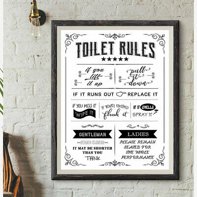 Toilet Rules Poster Funny Humour Print Washroom Picture WordArt WC Sign Bathroom