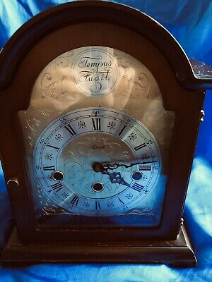 Hermle Mechanical Mantel Clock - Walnut Case 8 Day Movement Westminster Chime