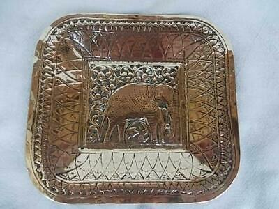 213 / Mid 20Th Century Indian Hand Made Brass Dish With Elephant Design