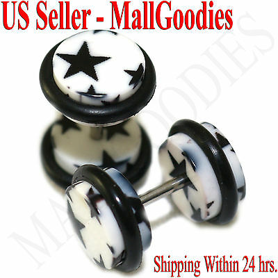 1160 Fake Cheaters Illusion Faux Ear Plugs 16G Bar Look 0G Black Marble Clear CZ