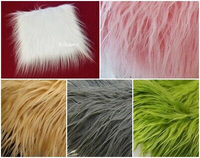 "10"" x 10"" Long Hair Faux Fur White Pink Camel Gray Green Fur Fabric"