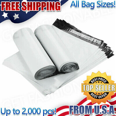 Poly Mailers Plastic Envelopes Shipping Bags  2.5 Mil White 10x13 ALL SIZES SHIP