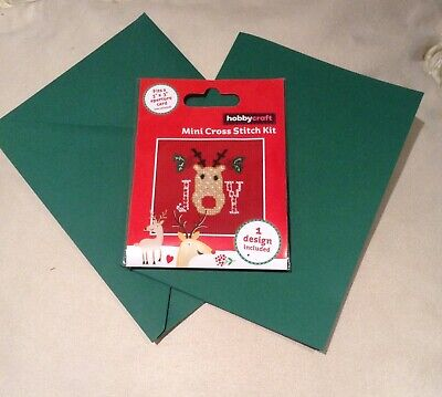 Christmas Reindeer Mini Cross Stitch Emroidery Kit Card Envelope Hobby Craft Set