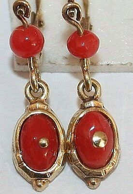 Antique Victorian 9K Yellow Gold Red Coral Oval Child Small Dangle Earrings 1900