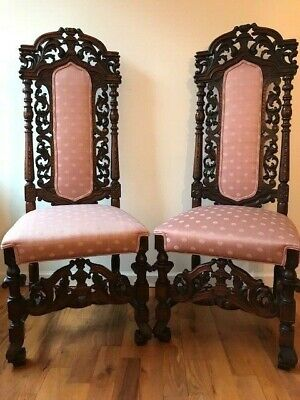 Set Of Two Antique Late 1800'S Neo Gothic Carved Oak Wood Chairs