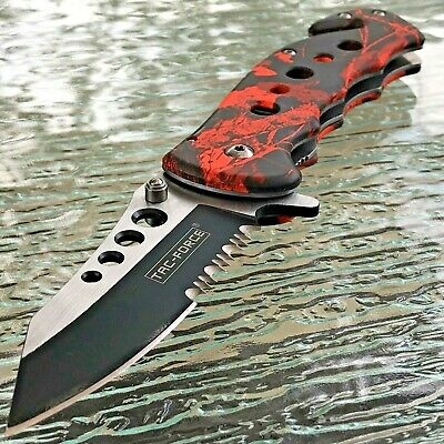 Tac Force Spring Assisted Red Camo Tactical Outdoor Folding Pocket Knife Open