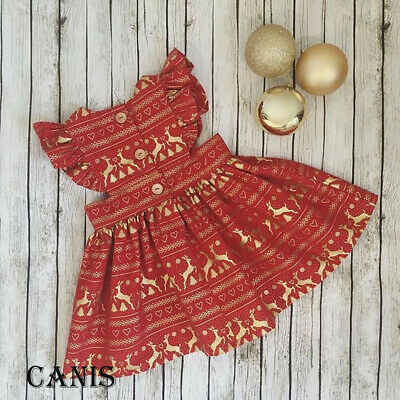 Christmas Toddler Ruffle Romper Bodysuit Baby Girls Dress Outfits Clothes AU