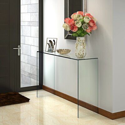 Gurved Glass Console Table Clear Dining Bent Hall End Table Side End Lamp Table