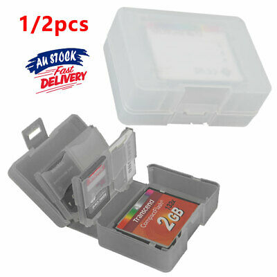 Memory Card Stick Pro/Duo Holder Clear Storage 8 in1 Protection Case SDHC SD