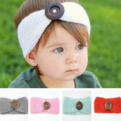Kids Infant Big Button Knitted Headband Baby Soft Ear Warmer Hairband Head Wraps