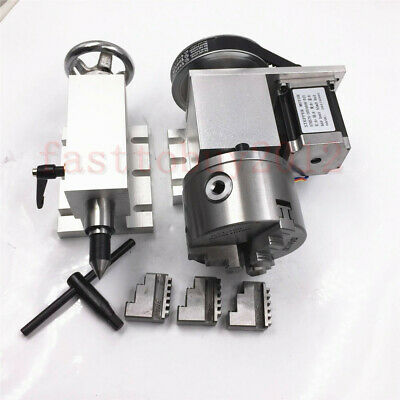 CNC Router Rotational Rotary Axis A-axis 4th-axis 100mm 3-Jaw Chuck  / Tailstock