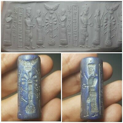 Ancient old sumarian  sassanian  lapiz cylinderseal bead