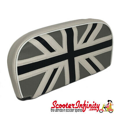 Backrest Pad (Union Jack Flag Black Silver) (Universal, Vespa / Lambretta)