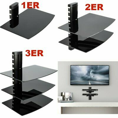 1 2 3 Tier Black Glass Floating Wall Mount Shelf for DVD Sky Box Game PS Console