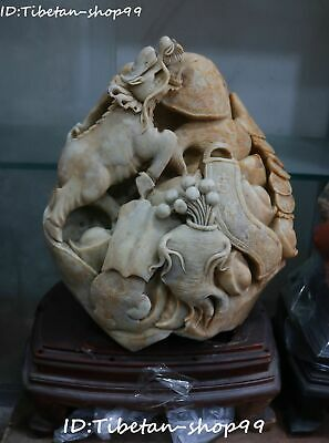 "17"" Natural Shoushan Stone Dragon Kylin Kirin Ginseng Ruyi Wealth Beast Statue"