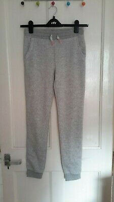 New H&M Girl's Grey Joggers Trousers Sweatpants Age 13-14