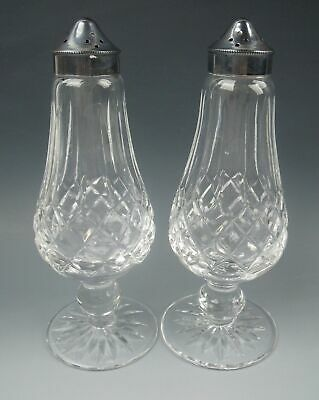 "Waterford Crystal LISMORE 16 hole 6"" Footed Salt & Pepper Shaker Set(s)EXCELLENT"