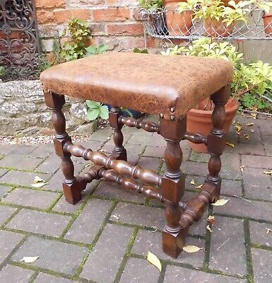 Good Antique Style Solid Oak Turned Stool~Footstool~Piano~New Padded Seat