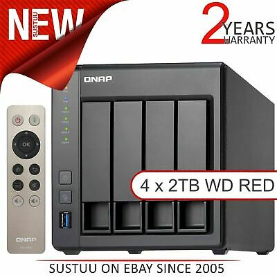 QNAP 4 Bay Desktop NAS Unit│8TB WD RED Hard Drives│Storage Device with 2GB RAM