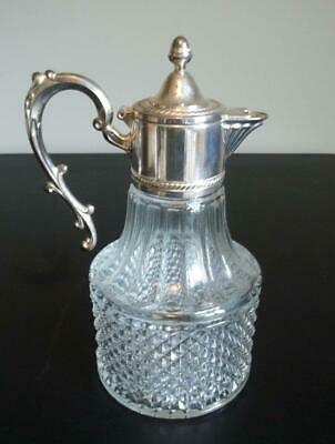 F B Rogers Wine Crystal Carafe Decanter Pitcher with Silver Plate Top, Italy