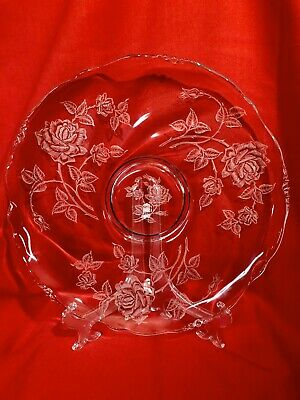 Heisey Etched Rose Crystal Platter and Matching Etched Rose Glass Bowl Vintage