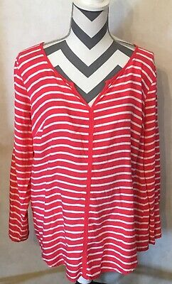 Large Motherhood Maternity Pink White Striped Blouse Long Sleeve Vneck Top Shirt